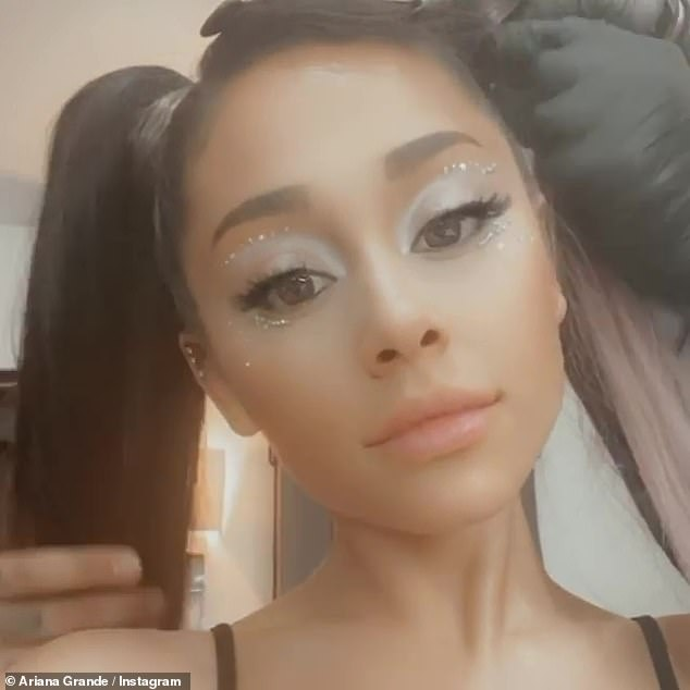 Getting glam:Ariana included a brief clip in her slideshow that she took while getting her hair done before the big show
