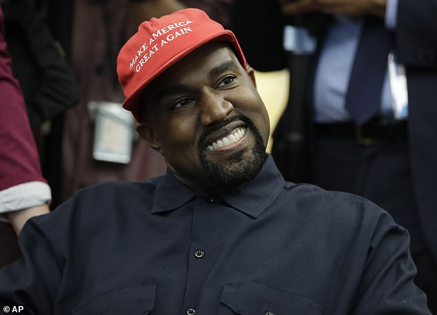 Splitting the vote: Kanye admitted earlier this month that his last-minute presidential bid was meant to split the vote in favor of Trump, telling Forbes: 'I'm not denying it; I just told you' (pictured in October, 2018)