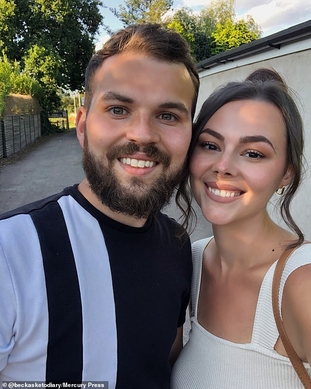 At her biggest, Rebecca would wear the waist trainer two or three times a week and it soon became painful, leaving her unable to sit or eat. Pictured: Now slim Rebecca with husband James