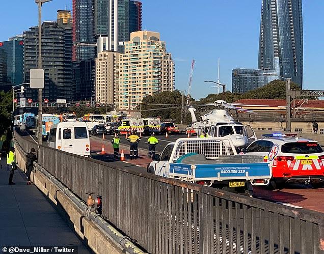 Emergency crews swarmed the Sydney Harbour Bridge after the fatal crash during peak hour last Thursday, August 28