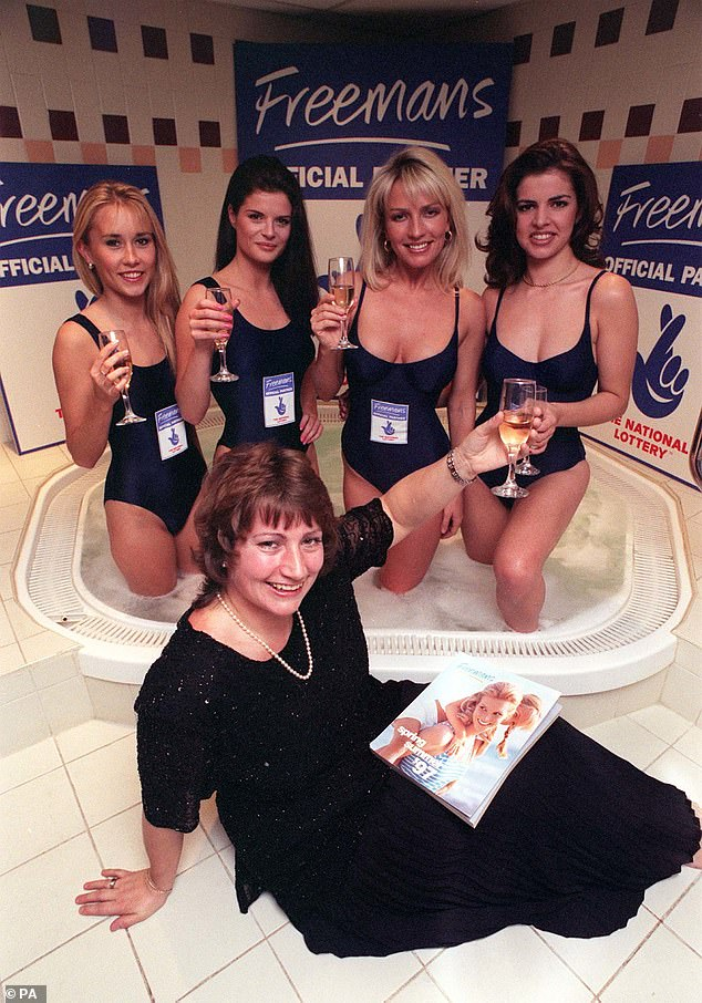 Lottery winner and catalogue shopper Elaine Thompson relaxes by a jacuzzi with some champagne and a Freemans catalogue with models