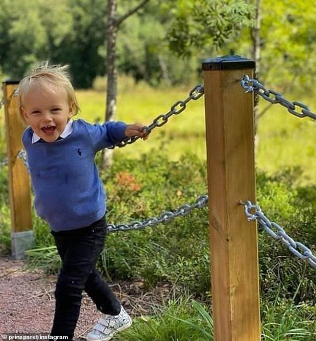 It comes after the three family members visited the youngster's duchy of Dalarna for the first time on Thursday, to open an accessibility-adapted rest spot dedicated in his honor as a baptism gift at the Saterdalen nature reserve (pictured)