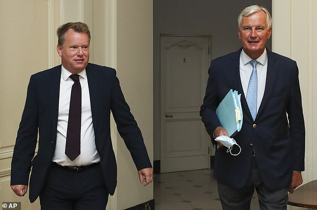 British negotiator David Frost (left) and Michel Barnier in Brussels last month