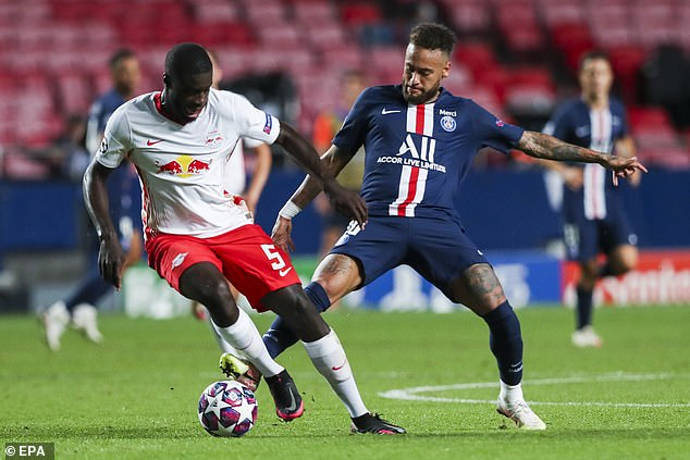 Upamecano (left) impressed for Leipzig in their run to the Champions League semi-finals