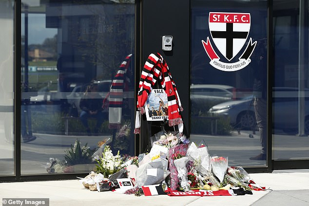 A tribute to Danny Frawley is seen at St Kilda Saints Football Club on September 10