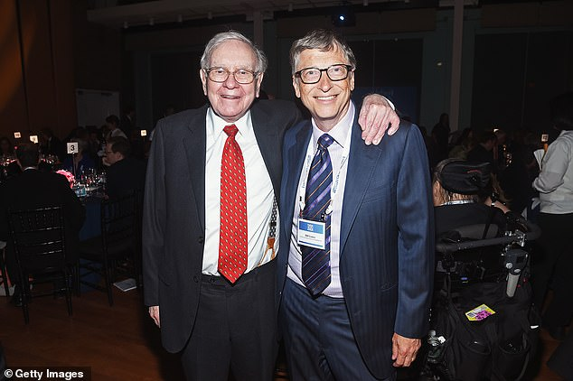 Gates (right) noted in a blog post that the two men bonded after Buffett (left) posed a series of thought provoking and smart questions about Microsoft's future