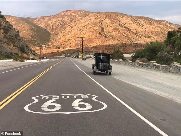 Tebo drove the 1929 Ford Model A, taking in the famous sights in just nine days while rarely breaking 45mph on the trip to California (pictured)