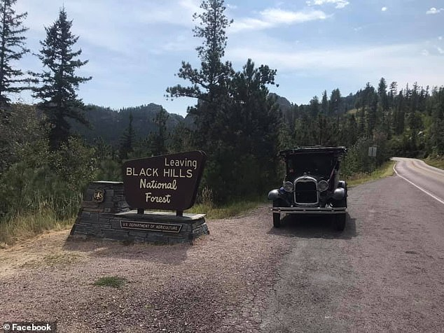 The old car is seen leaving Black Hills National Forest in South Dakota this month