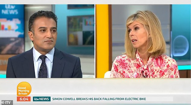 Filling: During the break, Good Morning Britain was greeted by Kate Garraway and Adil Ray (pictured)