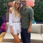 Vogue Williams flashes her bronzed pins in a silk maxi shirt dress