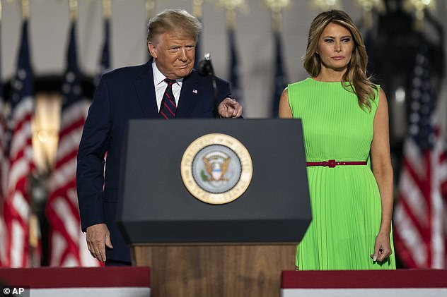 Wolkoff told 'GMA' that she thought Melania Trump was different from her husband Donald - the first couple are seen at the White House on Thursday night as the president accepted the Republican nomination for a second term