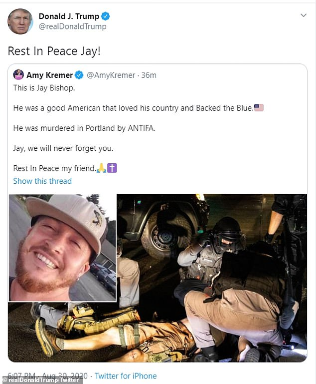 Trump tweeted: 'Rest in peace Jay!  after retweeting Amy Kremer, co-founder of Women for Trump
