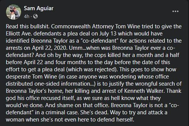 In a Facebook post, Aguiar added that the plea deal was being used to justify the search of her home and her subsequent killing