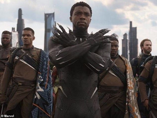Classic: Boseman played King T'Challa in his most important film, Black Panther