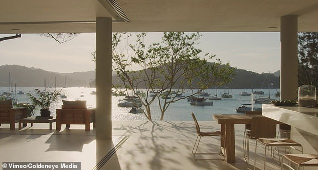 The spacious open-plan residence called Casa Paloma was designed by renowned Sydney architects Koichi Takada and overlooks Sydney's Pittwater (pictured)