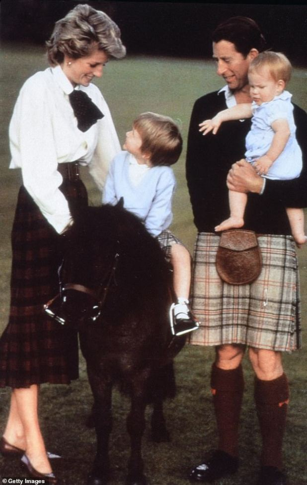 Prince William and Prince Harry are portrayed with their parents in 1988 in Balmoral