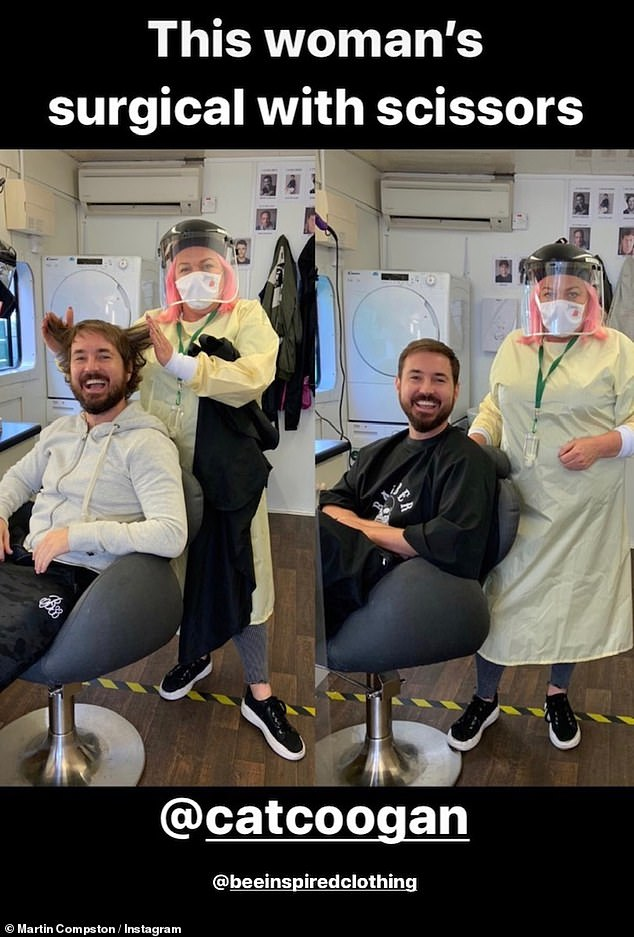 Before and after! Martin also posted the picture to his own Instagram and shared a fun snap of himself getting his longer locks, which he grew during lockdown, cut by hair stylist Cat Coogan ahead of filming