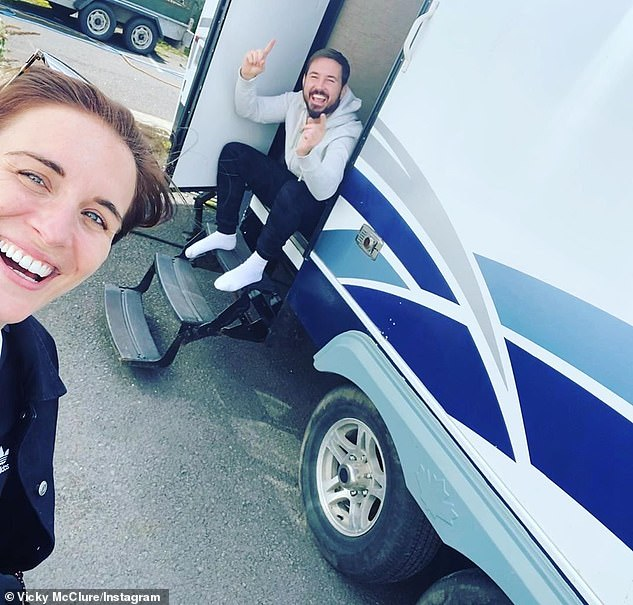 Reunited: Vicky also took to Instagram to post a picture of herself with Martin at a distance, which she captioned: 'Hello mate'