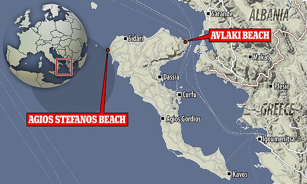 A location map shows where Ms Glatman was fatally injured (Avlaki Beach) and where the speedboat suspected of hitting her was later found (Agios Stefanos Beach)