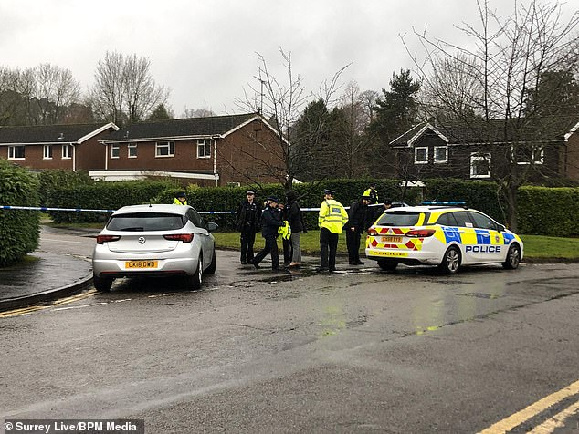 Philip Tarver, 47, allegedly attacked Angela Tarver at the £600,000 family home in Woking, Surrey, in December last year. Pictured: Police at the scene