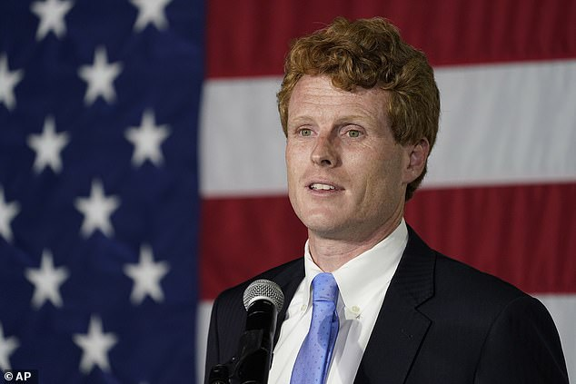 U.S. Rep. Joe Kennedy III speaks outside his campaign headquarters in Watertown, Massachusetts after conceding defeat to incumbent U.S. Sen. Edward Markey, in September