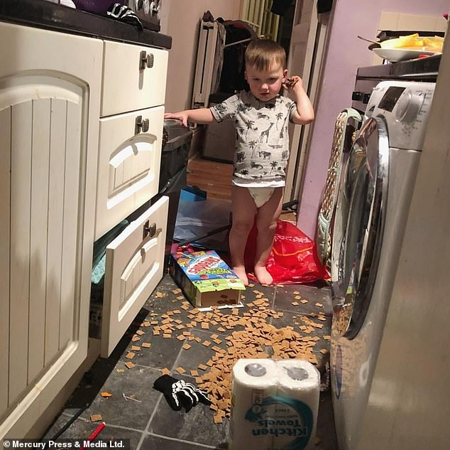 Steffi Rox, 37, from Torquay, Devon, shares photos of her toddler Romeo, three, pictured, on her Instagram account if he misbehaves