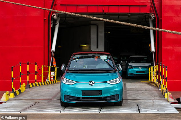 The high-spec 1st Edition ID.3 hatchbacks were driven off a container ship at Grimsby Port this week
