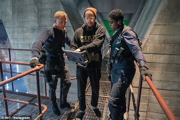 Synopsis: The film, directed by Cary Joji Fukunaga (centre, pictured with Daniel and Lashana Lynch), finds Bond returning to active service to face mysterious villain Safin (Rami Malek)
