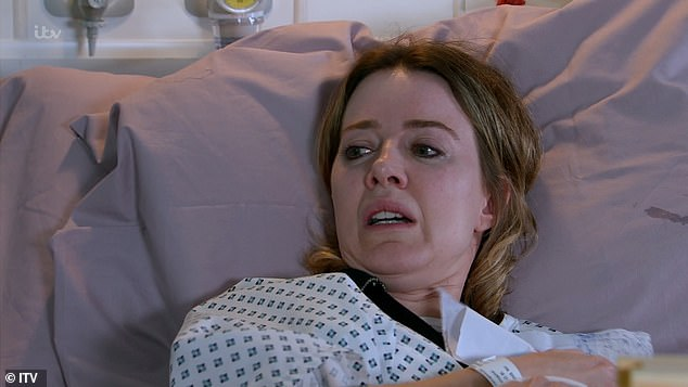 Drama: New plots see an epic feud between Abi [pictured] and Debbie begin, while Peter's involvement in Abi's dark past will bring trouble to his own door with Carla