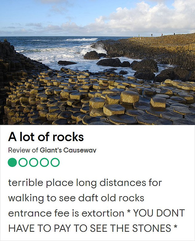 Too many daft rocks! Northern Ireland's Giant's Causeway is an area of outstanding natural beauty and a UNESCO world heritage site, but one person thought it had too many stones