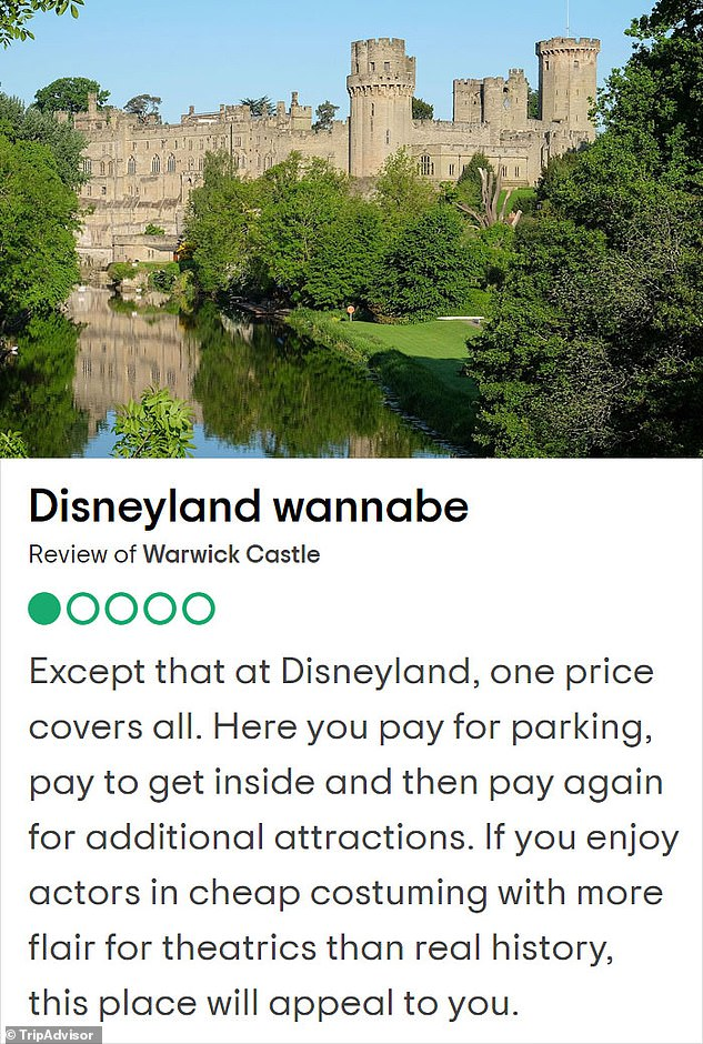 Built just two years after the Battle of Hastings in 1068, Warwick Castle was constructed nearly 900 years before the first Disneyland opened. Despite this, one reviewer thought the castle was a 'wannabe version' of the American theme park