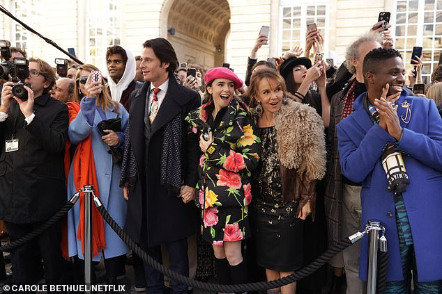 Left to right: William Abadie as Antoine, Lily Collins as Emily, Philippine Leroy-Beaulieu as Sylvie and Samuel Arnold as Luke In Episode 1, fans have been wowed by the gorgeous fashion of the episode