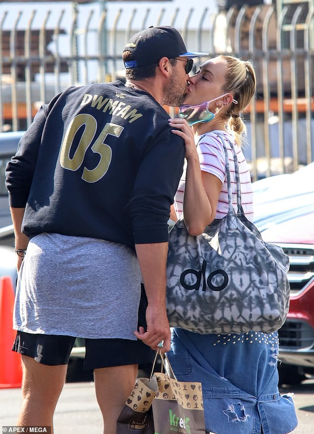 Pro couple:Her husband, former Dancing With the Stars pro Maksim Chmerkovskiy stopped by the studio to visit his wife of three years