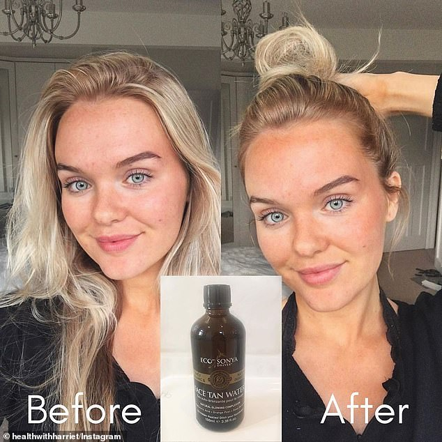 Many women say they haven't worn foundation since discovering the product (inset), which coats the face with a natural glow, reduces redness and conceals blemishes
