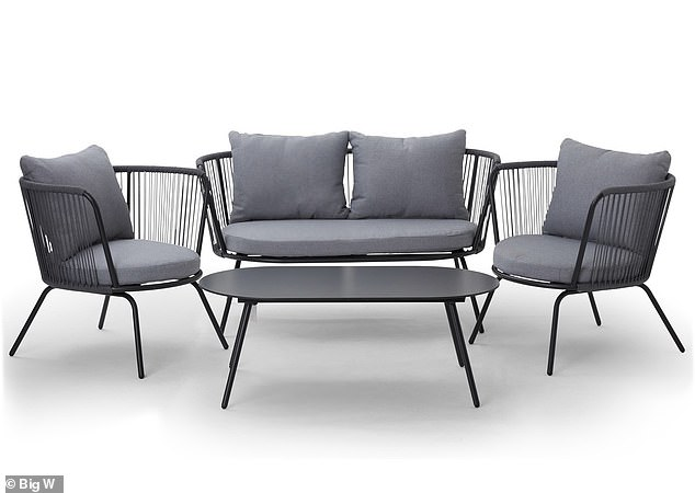 For a little extra, why not consider the House & Home four-piece rope conversation set complete with a coffee table, two armchairs and one lounge for $499 (pictured)
