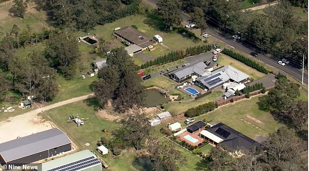 An aerial view of the private property in northwest Sydney where a two-year-old boy nearly drowned