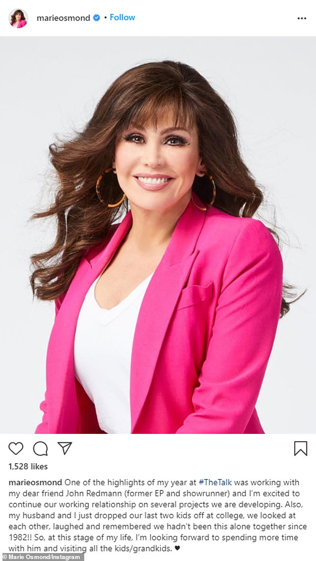 Exit: She joined CBS daytime show The Talk last year as replacement for Sara Gilbert. But on Wednesday, Marie Osmond confirmed that she is exiting the series after just one season