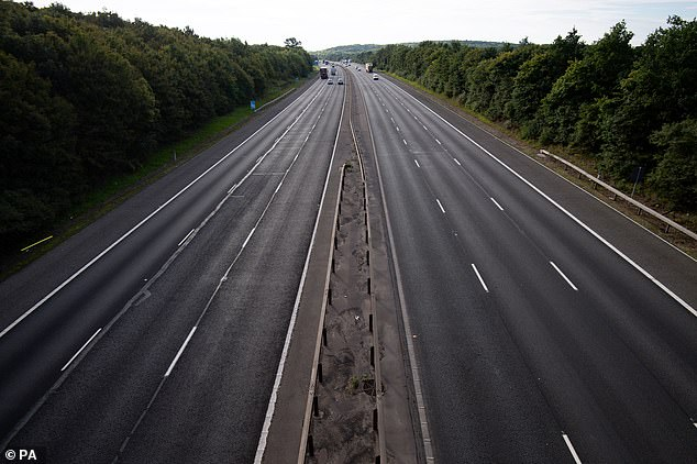 Light traffic during rush hour on the M40 near Warwick yesterday as people work from home