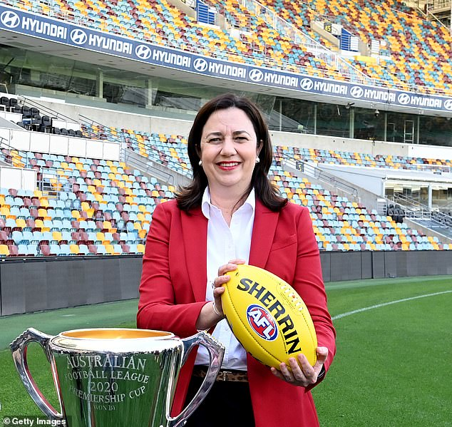 Queensland Premier Annastacia Palaszczuk pictured during a press conference announcing that the 2020 AFL Grand Final will be played at the Gabba on September 2