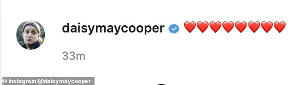 In love: Captioning the picture to her Instagram, Daisy penned a string of eight red heart emojis