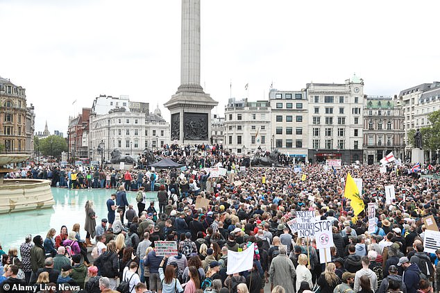 More than 10,000 Covid-19 conspiracy theorists who believe the virus is a hoax gathered in London's Trafalgar Square on Saturday to protest against lockdown restrictions and vaccination programmes