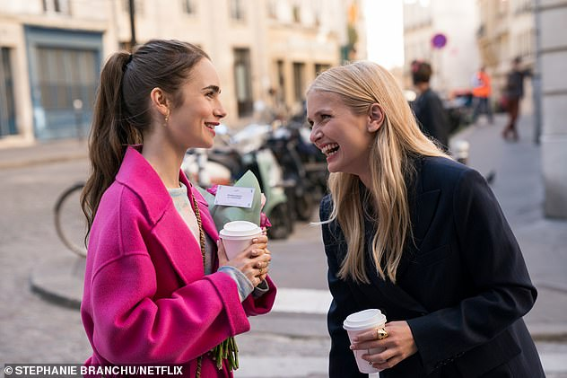 Alongside Lily, left, who also worked as a producer on the show is Camille Razat as Camille, one of the friends she makes in Paris