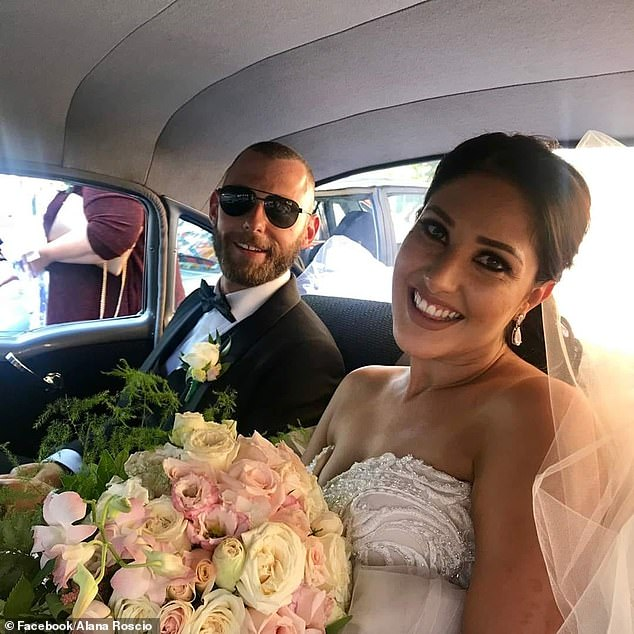 Alana Roscio, 31, (pictured on her wedding day with husband Aram Roscio) will spend the next four months undergoing chemotherapy in an Adelaide hospital after being diagnosed with breast cancer on June 10