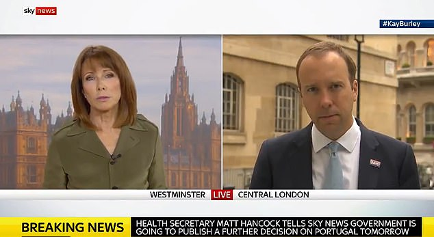 In a bruising interview on Sky News, Matt Hancock was told by presenter Kay Burley that Mr Abbott - who denies being homophobic or sexist - had previously said he was 'threatened' by homosexuality and men were better to exercise power