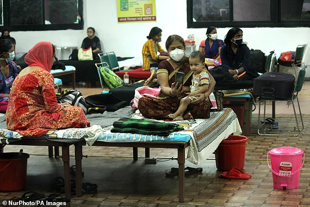 A ward for female Covid-19 patients inside the Commonwealth Games Village Sports Complex, which is attached to the Lok Nayak Jai Prakash Hospital in New Delhi