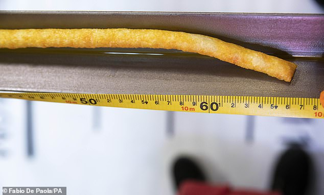 The meeting conditions for the Guinness World Record said the Wotsit had to be more than 10m long and the same width as a standard Wotsits Giant