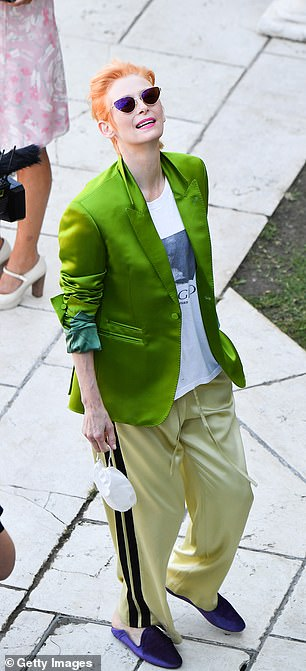 Bright and colourful: Tilda stood out in her quirky look
