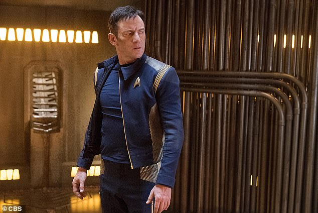 Fun: Teasing the new season at San Diego Comic-Con in July, Alex Kurtzman said: 'Obviously we made a pretty radical jump into the future at the end of season two – we're going almost 1000 years into the future in season three!' (Jason Isaacs as Captain Gabriel Lorca in 2017)