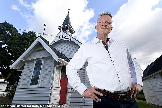 Bill Edgar, 52, (pictured) has been dubbed the 'Coffin Confessor' after quitting his job as a private investigator on the Gold Coast two years ago to gatecrash funerals