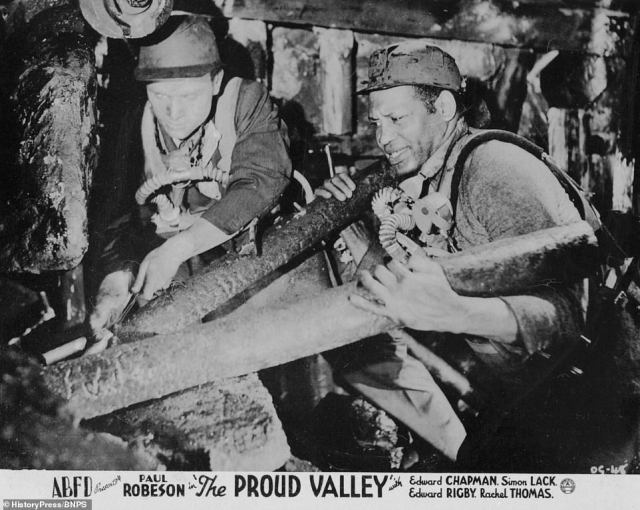 A poster for the 1940 Ealing Studios film The Proud Valley. Focusing on Black Britain during wartime, the movie is about an African-American who finds a job in the mining community of Wales